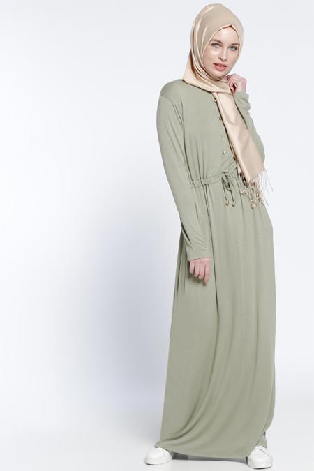 Everyday Basic Açık Haki Düğme Detaylı Elbise