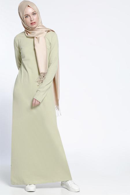 Everyday Basic Açık Yeşil Natürel Kumaşlı Spor Elbise
