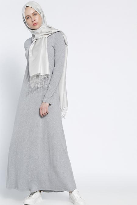 Everyday Basic Gri Tek Renk Elbise