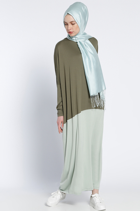 Everyday Basic Haki Garnili Elbise
