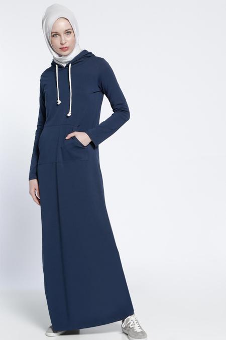 Everyday Basic Lacivert Kapüşonlu Elbise