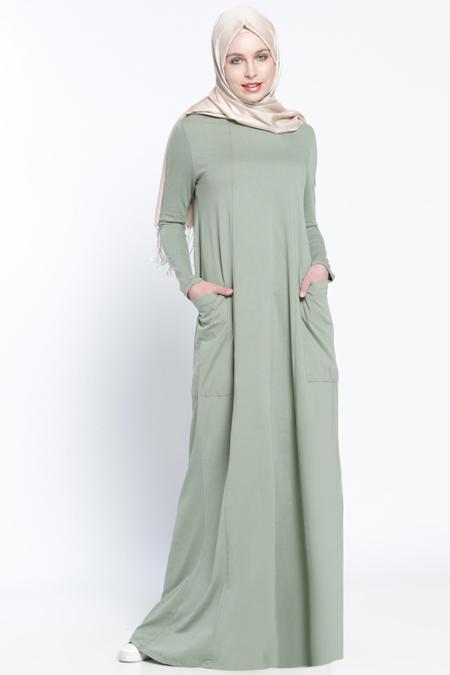Everyday Basic Nefti Natürel Kumaşlı Cepli Elbise