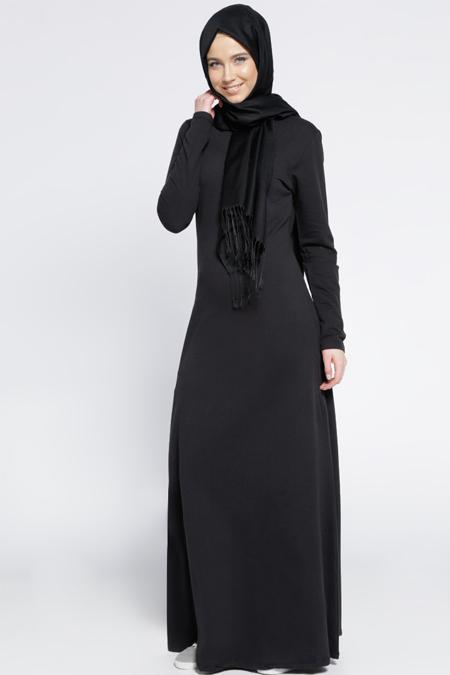 Everyday Basic Siyah Natürel Kumaşlı Elbise