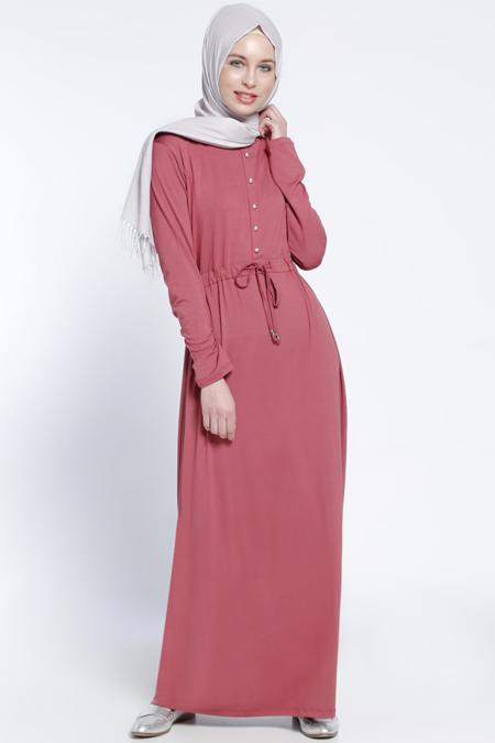 Everyday Basic Vişne Düğme Detaylı Elbise