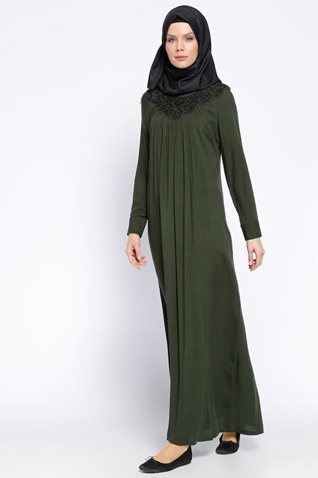 Ginezza Haki Yeşil Dantel Detaylı Elbise