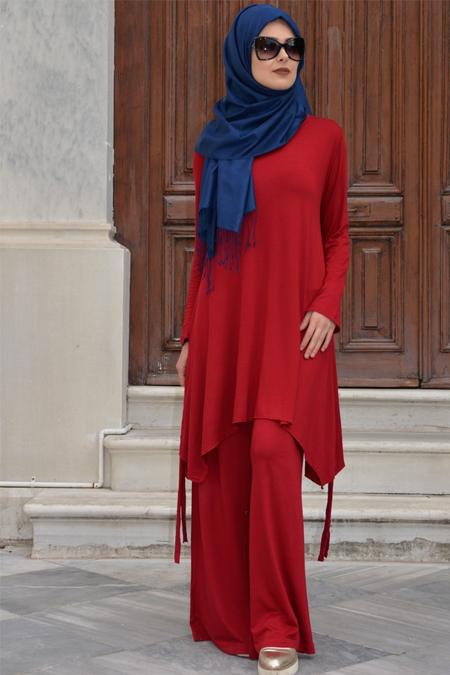 Henna Elısa Bordo Ferah Tunik&Pantolon İkili Takım