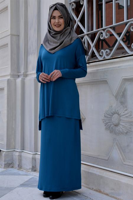 Henna Elısa Petrol Aden Tunik&Etek İkili Takım