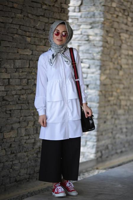 Kadriye Basturk İpek Gabardin Fırfırlı Gömlek