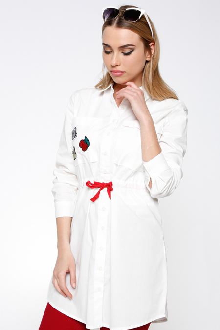 Koton Beyaz Cep Detaylı Tunik