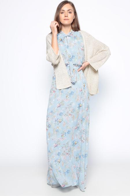 Koton Mavi Kolsuz V Yaka Elbise