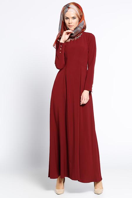LOREEN Bordo Yaka Detaylı Elbise