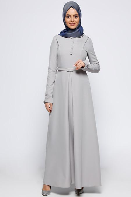LOREEN Gri Kemerli Elbise