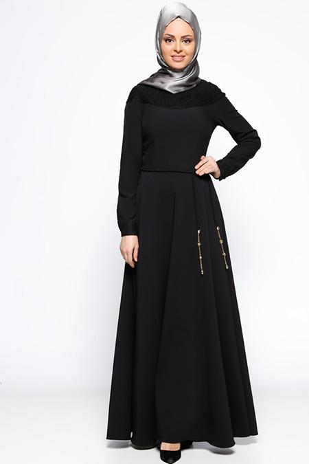 LOREEN Siyah Dantel Detaylı Elbise
