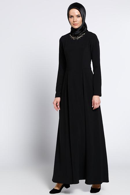 LOREEN Siyah Yaka Detaylı Elbise