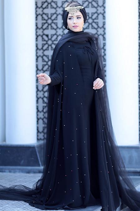 Lef`zen Siyah Alia Abiye Elbise