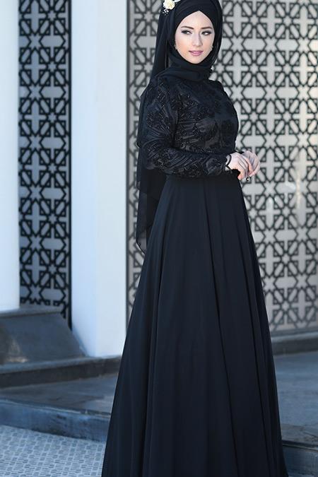 Lef`zen Siyah Hafsa Abiye Elbise