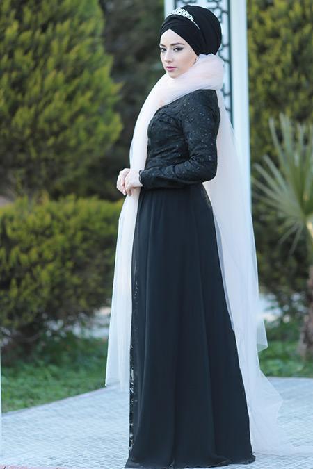 Lef`zen Siyah Ravza Abiye Elbise