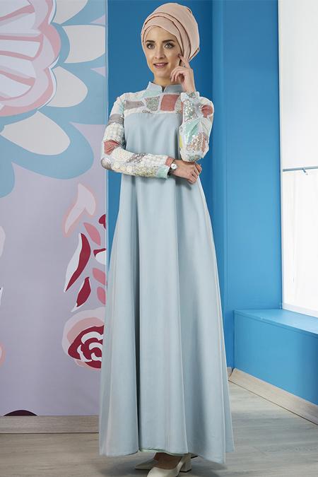 Mevra Mint Marin Tensel Elbise
