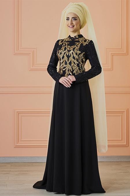Mevra Siyah Gold Anka Abiye Elbise