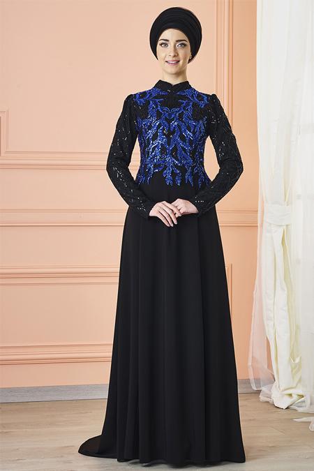 Mevra Siyah Saks Anka Abiye Elbise