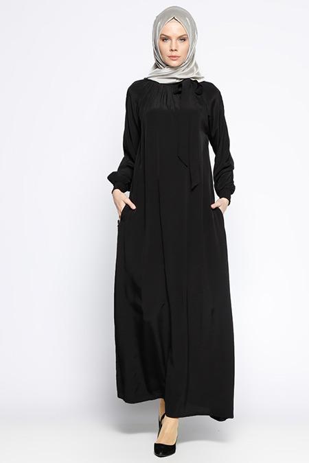 ModaNaz Siyah Gipeli Elbise