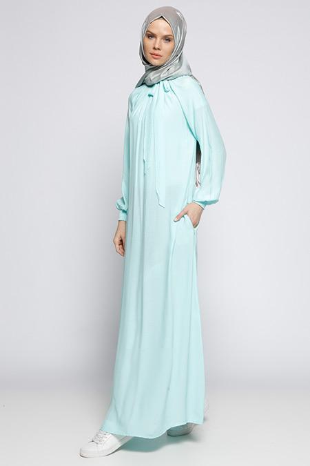 ModaNaz Su Yeşili Gipeli Elbise