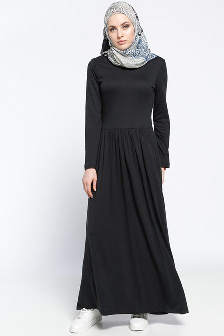 Muni Muni Siyah Cepli Salaş Elbise