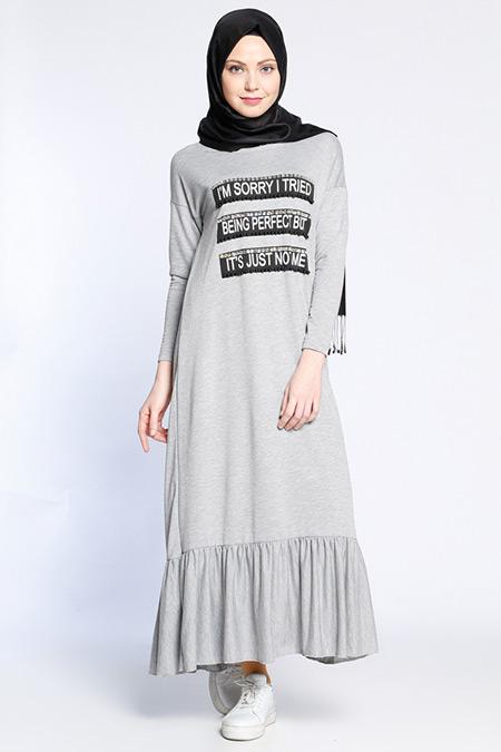 Neways Gri Taş Detaylı Elbise