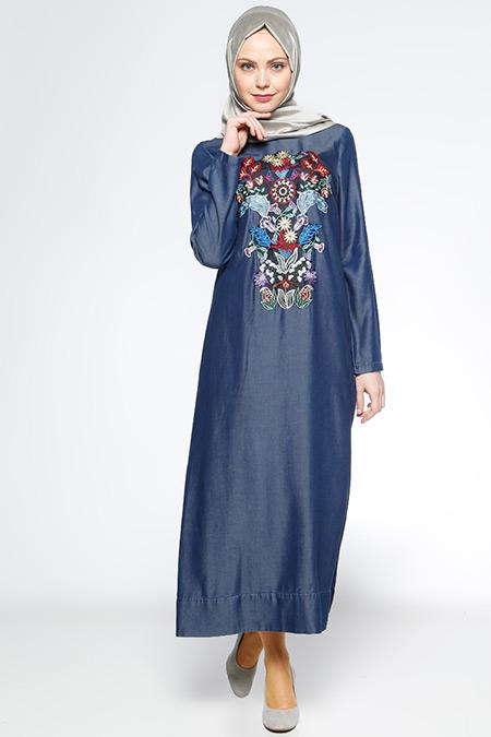 Neways Lacivert Nakışlı Tensel Elbise