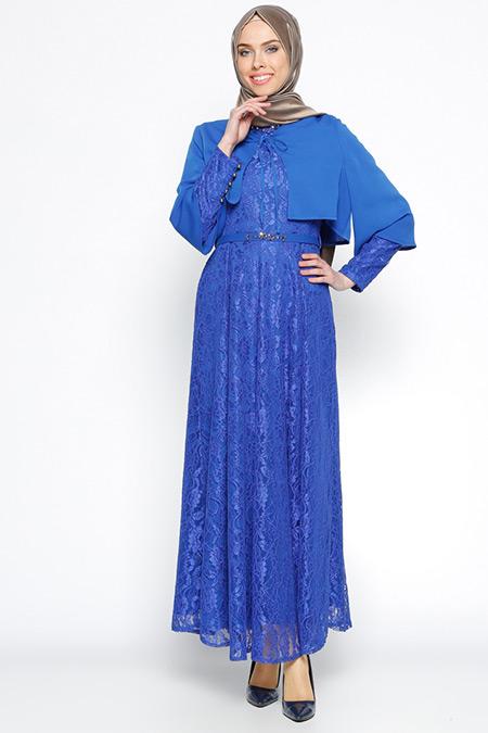 Nihan Saks Dantelli Abiye Elbise