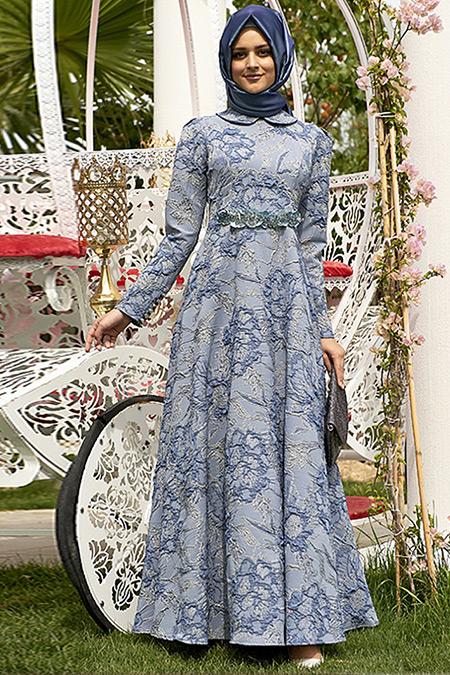 Nilüfer Kamacıoğlu İndigo Jakarlı Abiye Elbise