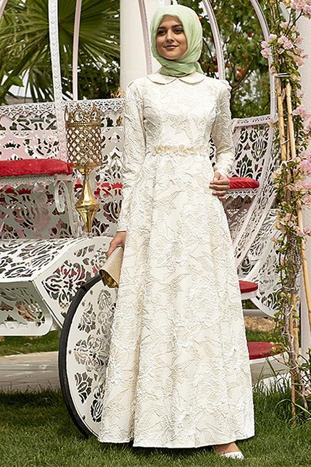 Nilüfer Kamacıoğlu Ekru Jakarlı Abiye Elbise