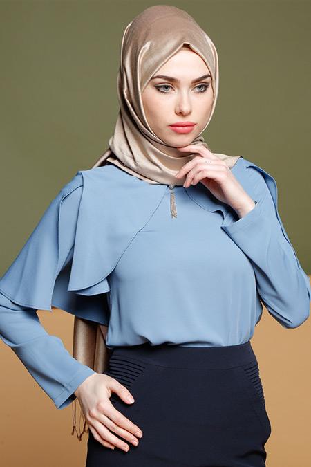 Puane Mavi İnci Detaylı Bluz