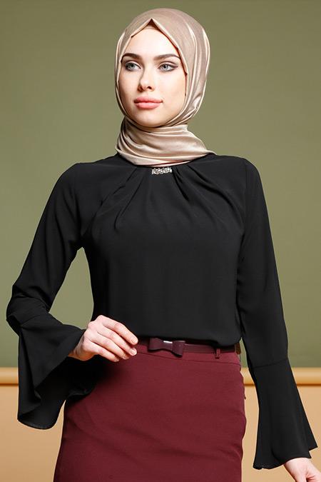 Puane Siyah Taş Detaylı Bluz
