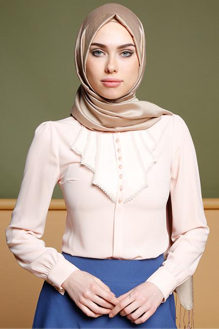 Puane Somon Güpür Detaylı Bluz