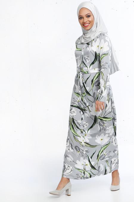 Refka Gri Natürel Kumaşlı Çiçek Desenli Elbise
