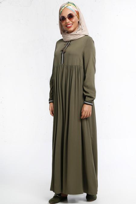 Refka Haki Nakış Detaylı Elbise