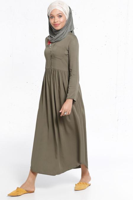 Refka Haki Natürel Kumaşlı Nakış Detaylı Elbise
