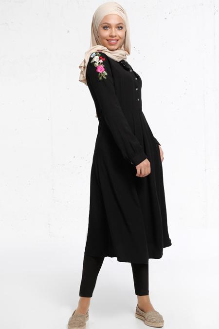 Refka Siyah Nakış İşlemeli Tunik