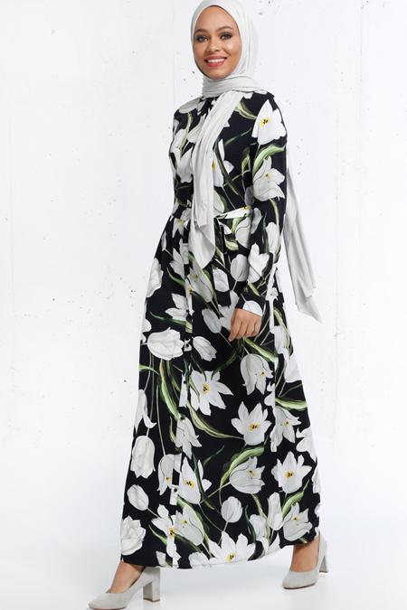 Refka Siyah Natürel Kumaşlı Çiçek Desenli Elbise