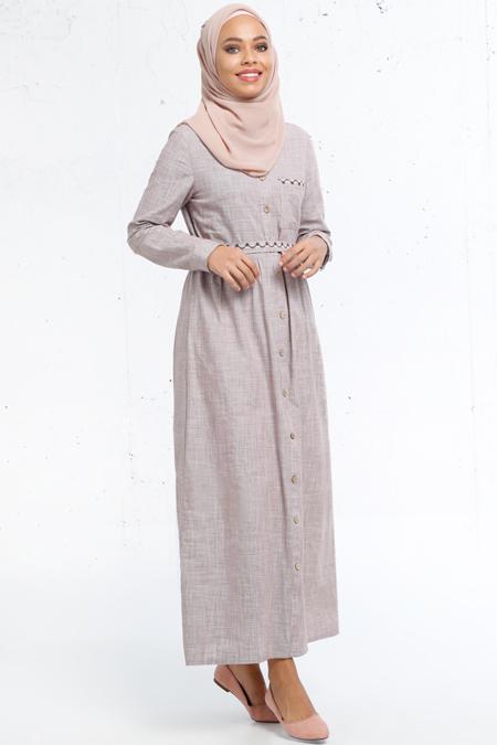 Refka Vizon Boydan Düğmeli Elbise