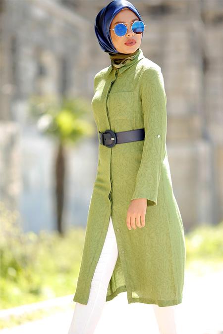 Refka Yeşil Gizli Düğmeli Tunik