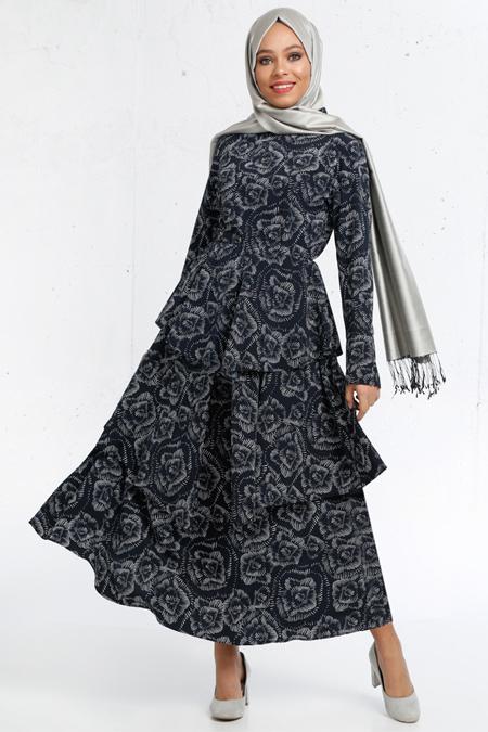 Refka Lacivert Desenli Elbise