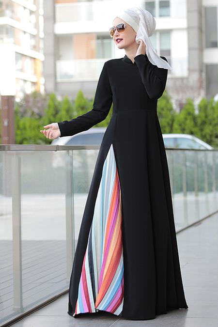 Selma Sarı Design Siyah Piliseli Elbise