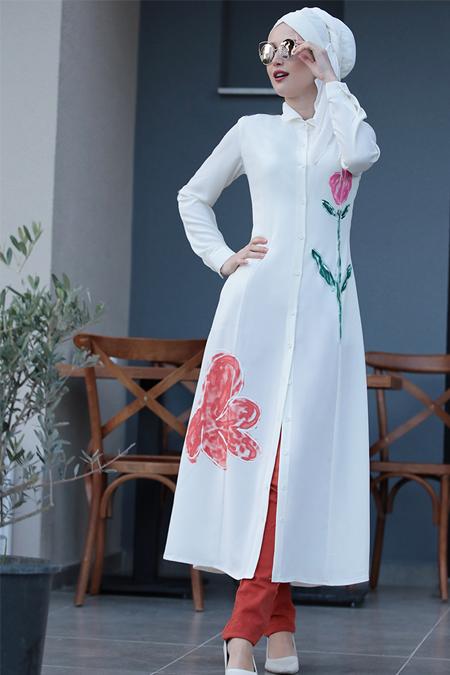 Selma Sarı Design Ekru Çiçek Desenli Tunik