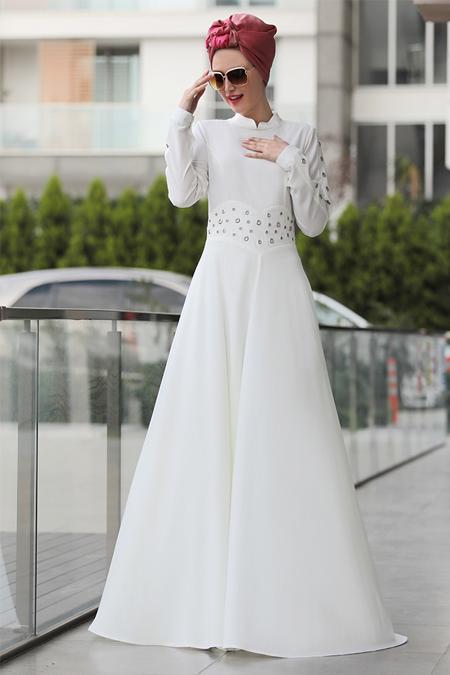 Selma Sarı Design Ekru Kuş Gözü Detaylı Elbise