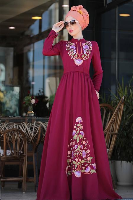 Selma Sarı Design Fuşya Cess Nakışlı Elbise