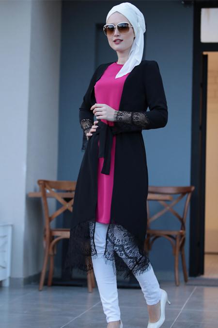 Selma Sarı Design Fuşya Siyah Dantel Detaylı Tunik