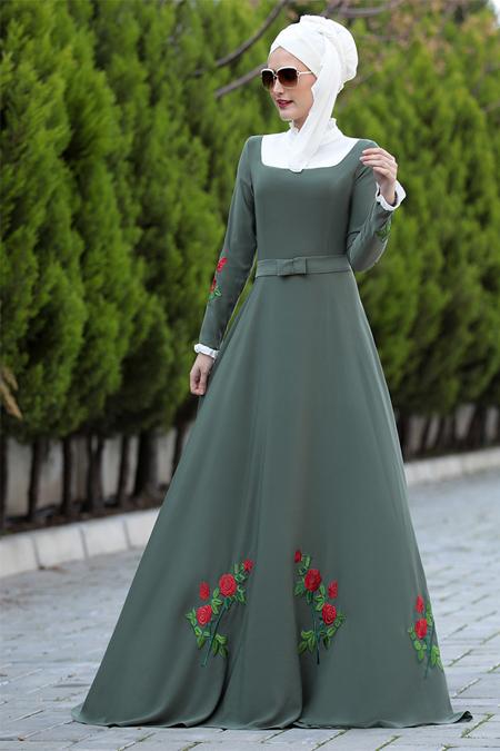 Selma Sarı Design Haki Gül Elbise