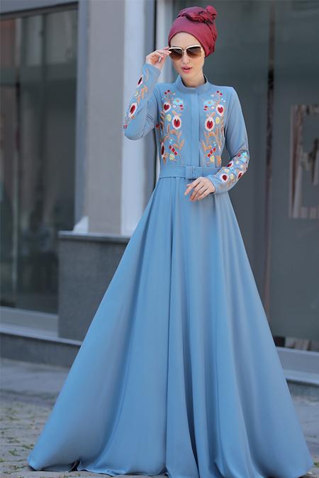 Selma Sarı Design Mavi Mila Elbise